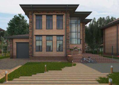 Двухэтажный проект дома с гаражом