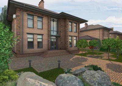 Двухэтажный проект дома по американской планировочной