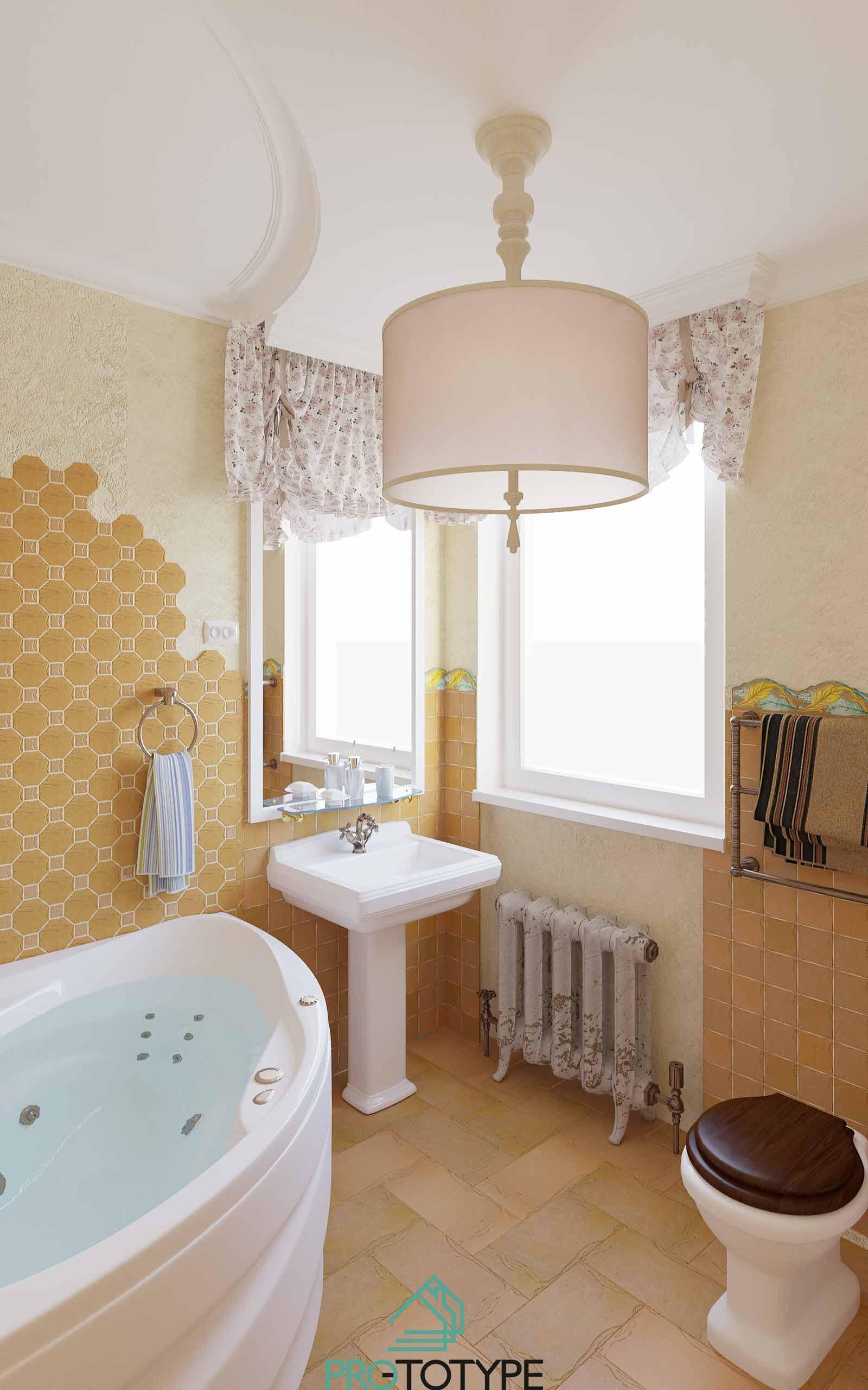 дизайн-проект интерьера ванны в духе Прованса