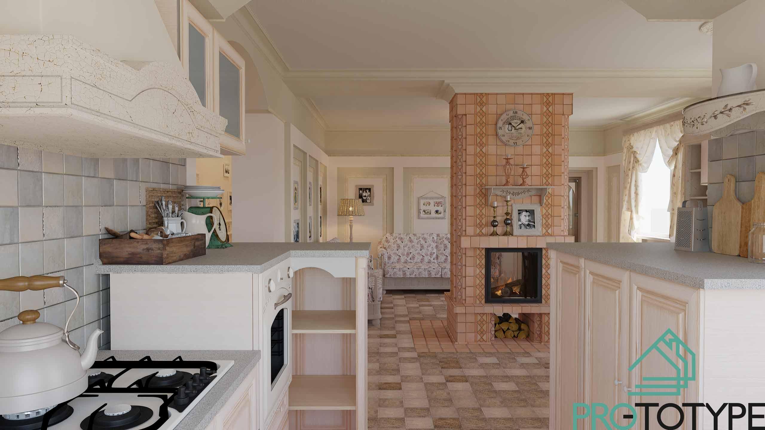 Кухня в стилистике Прованса в частном доме