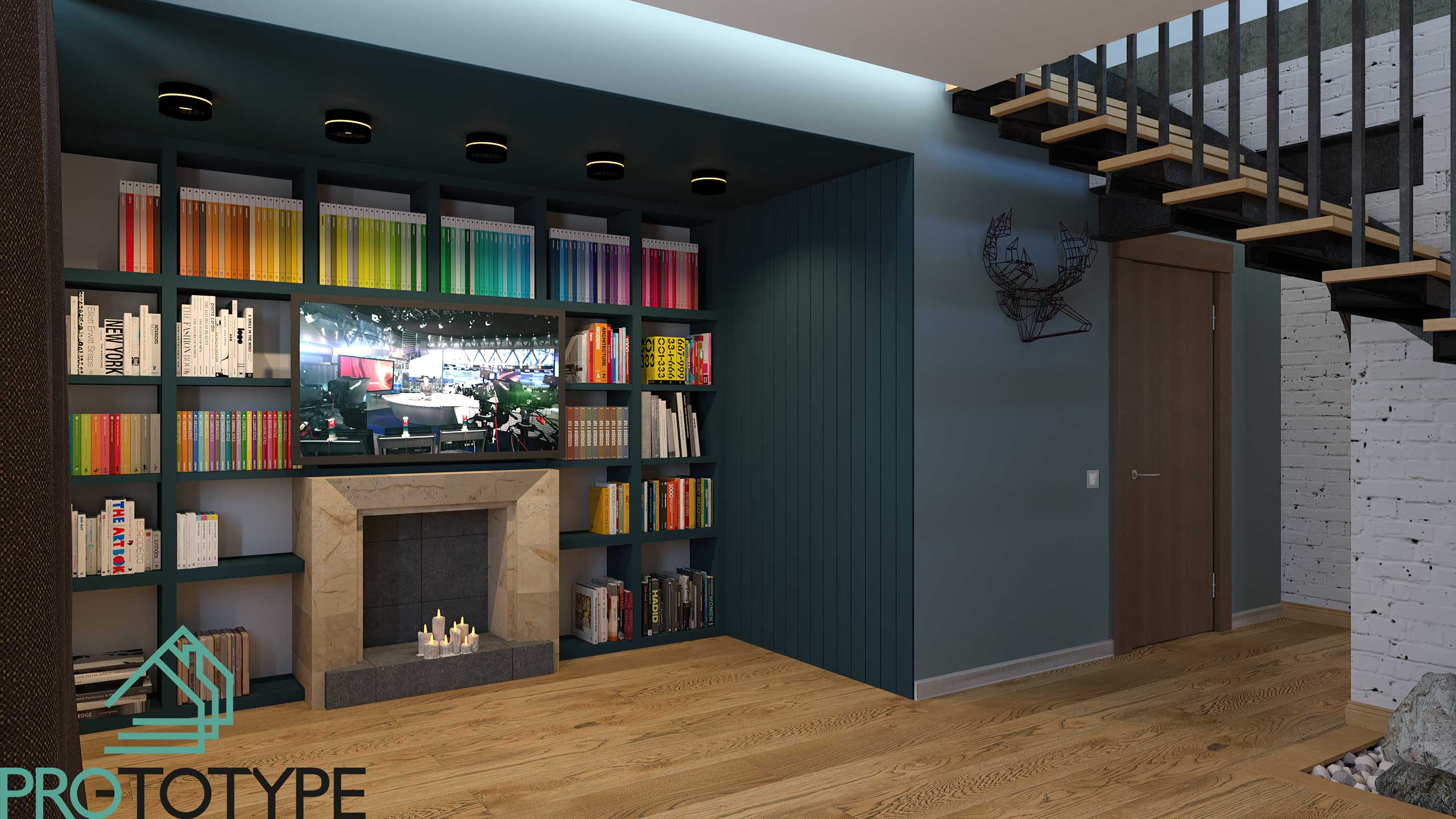 Дизайн библиотеки в доме