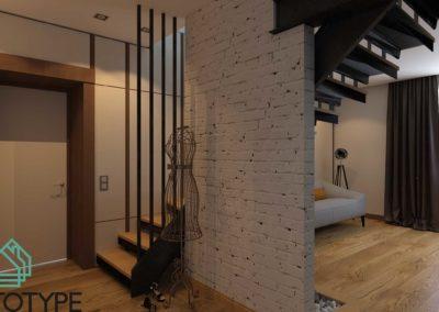 Дизайн проект с металлической лестницей