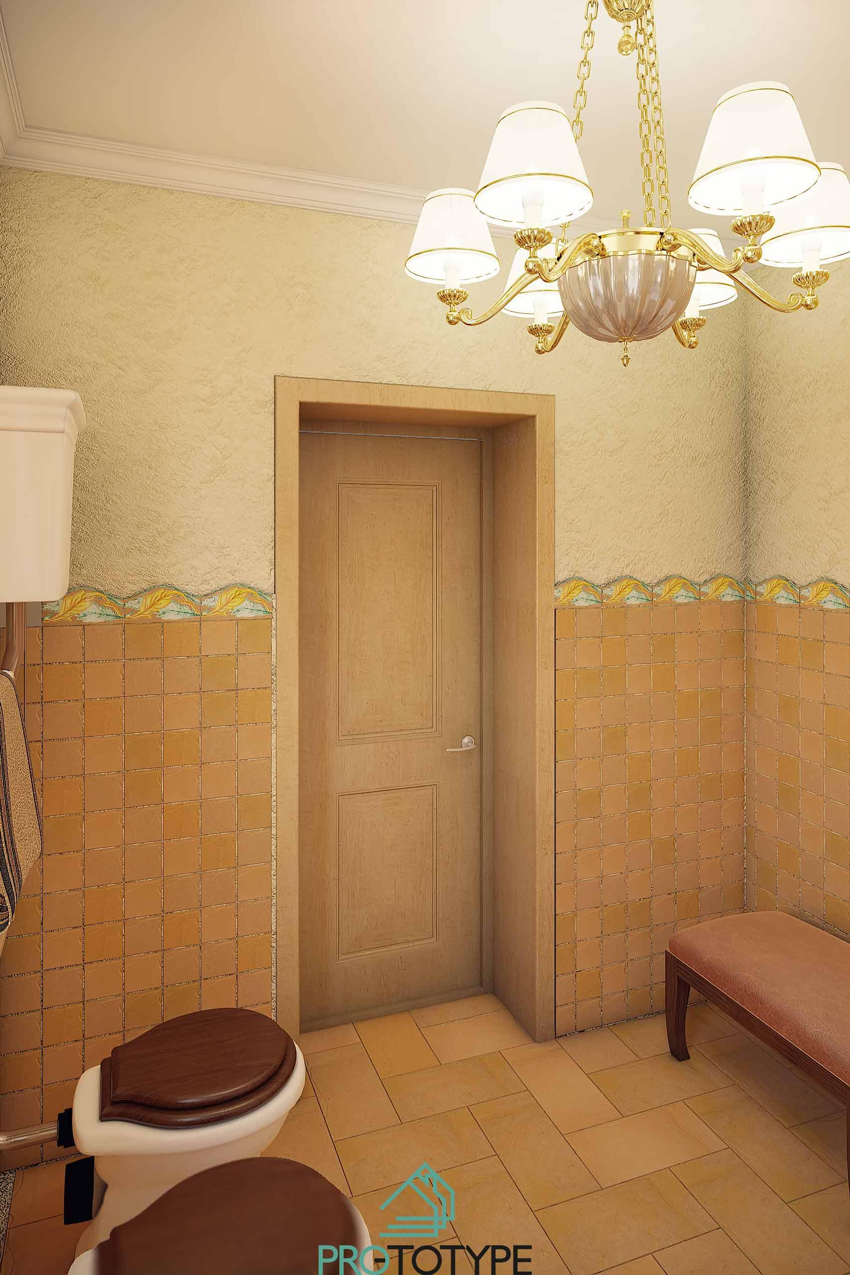 Ванная украшенная декоративной штукатуркой и плиткой оригинальной расцветки натуральной глины