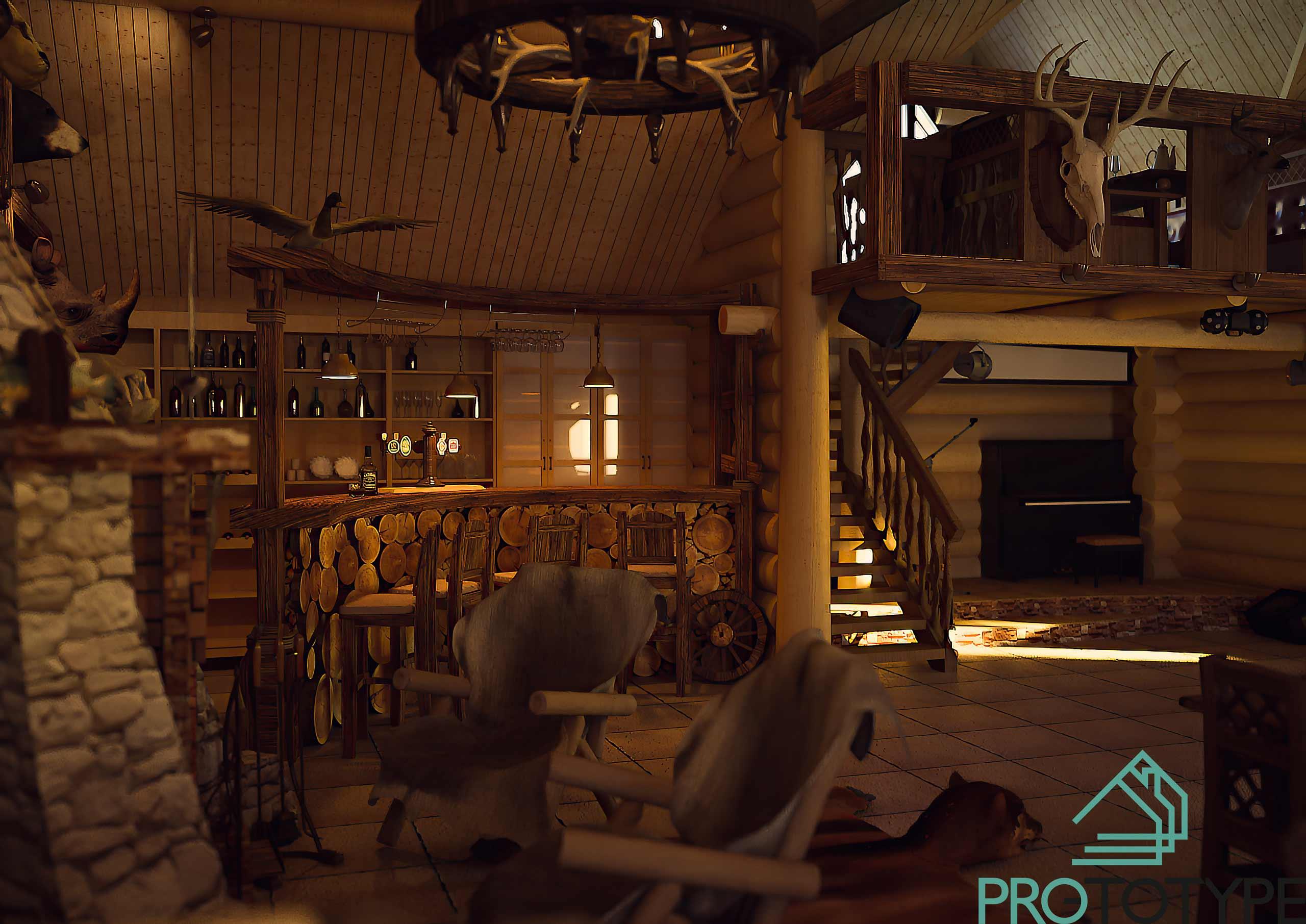 Барная стойка в проекте ресторана в охотничьем стиле