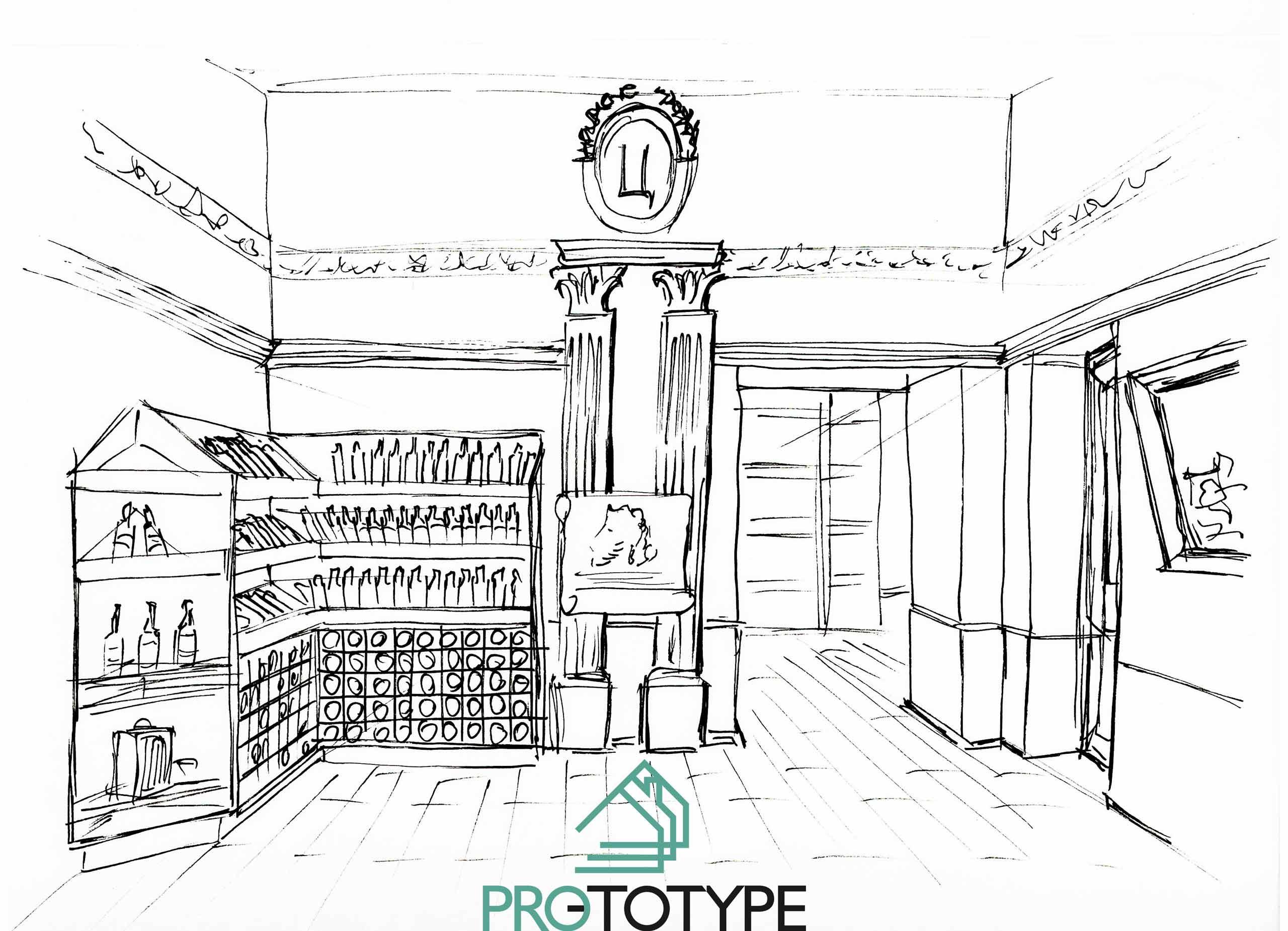 Эскиз проекта винного магазина