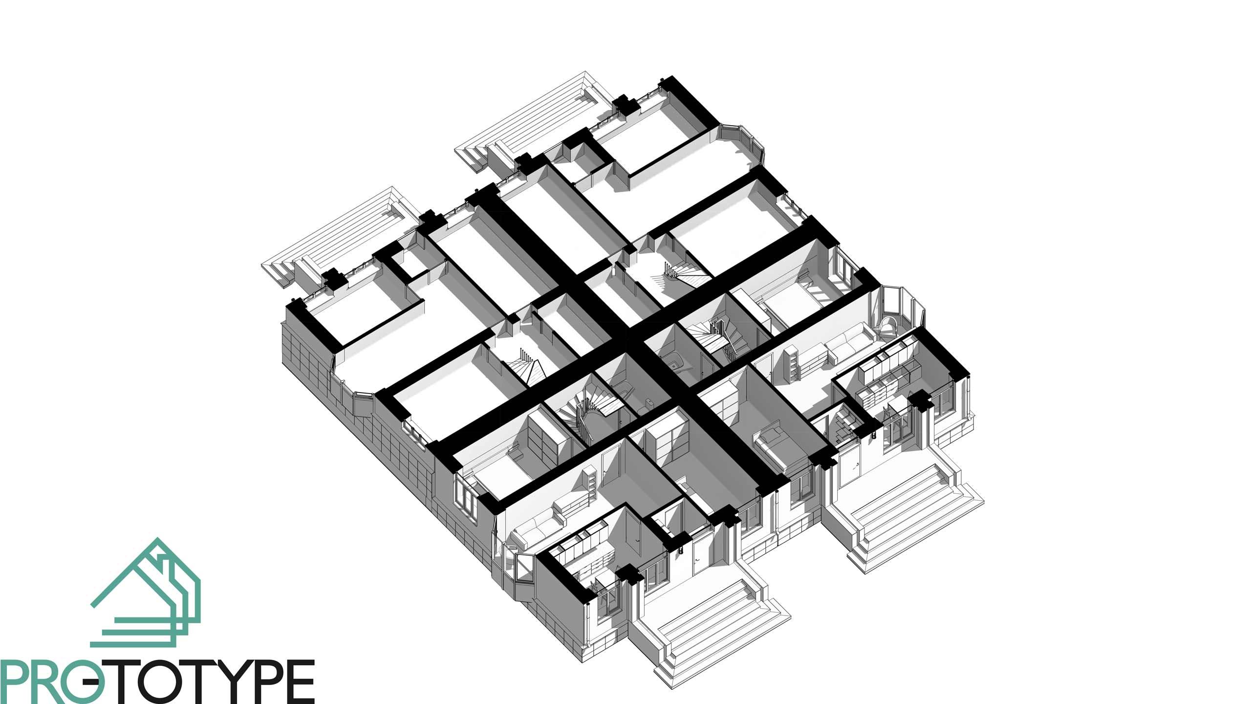 План таунхауса двухэтажного