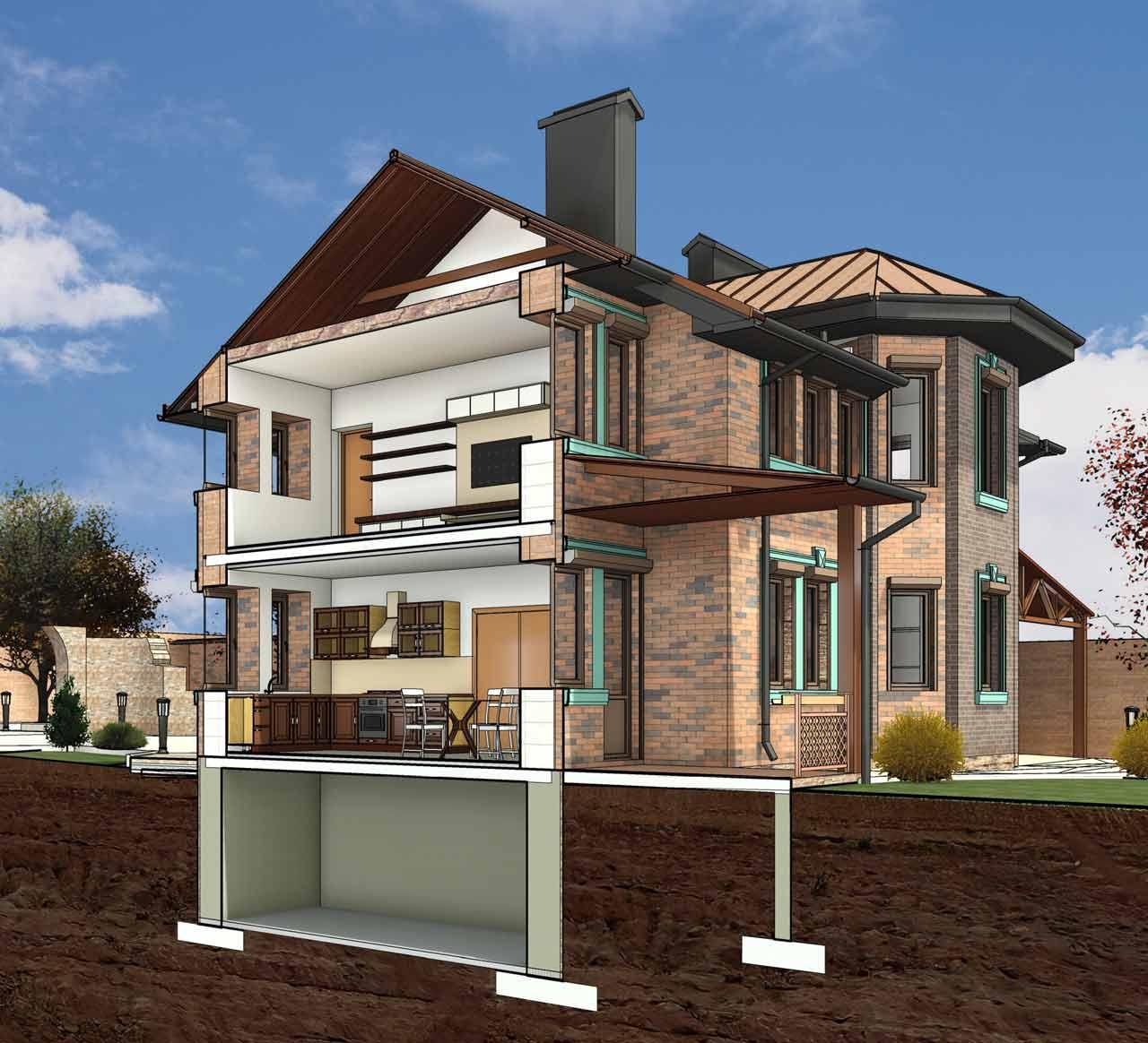 Архитектурный проект двухэтажного дома с террасой