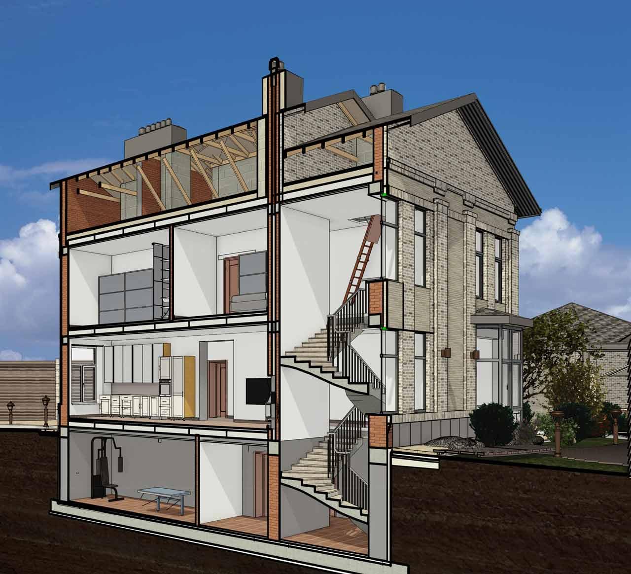 Проект дома двухэтажного с подвалом