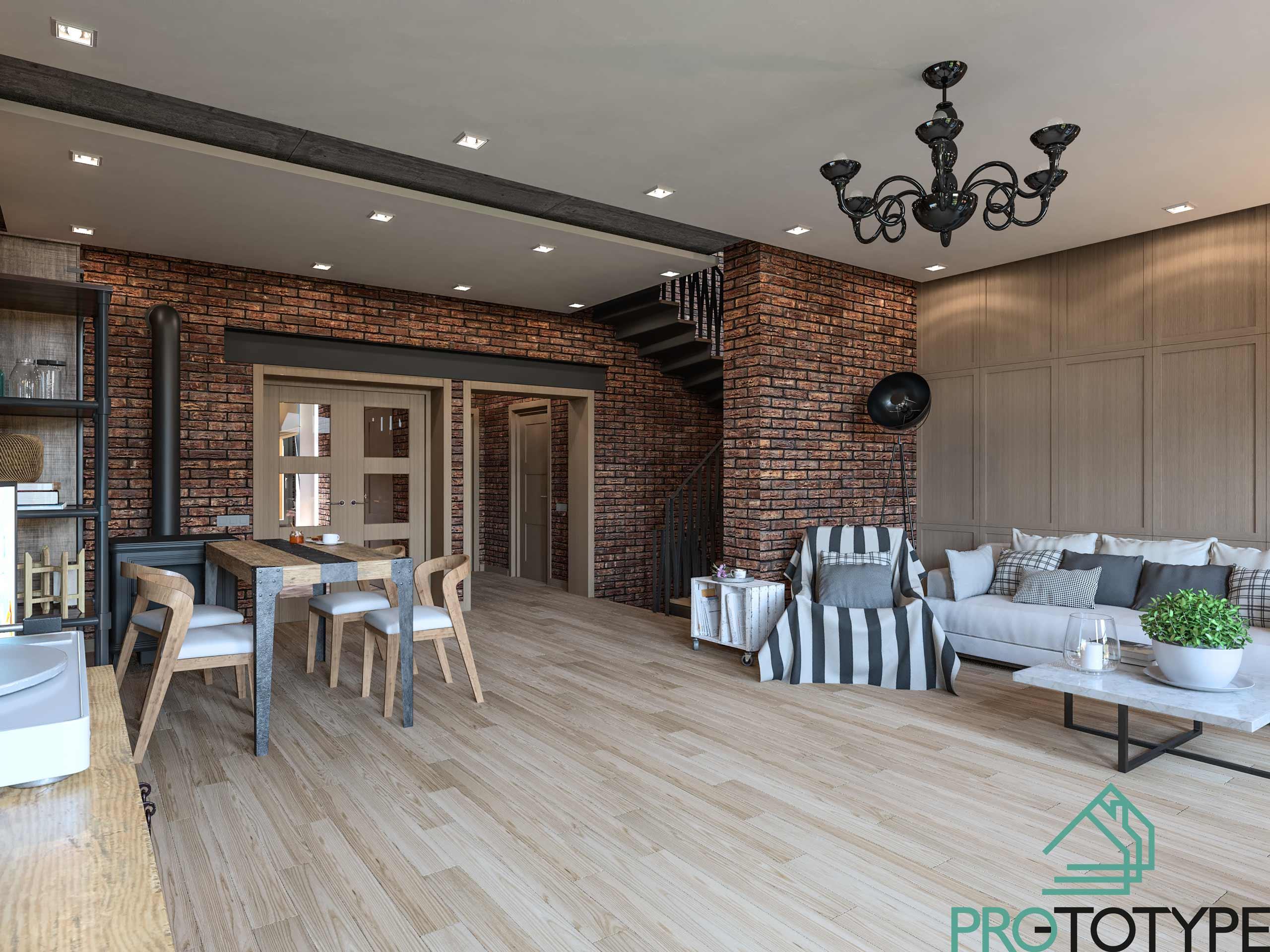 Кирпичный лофт - Дизайн интерьера дома в современном стиле Лофт