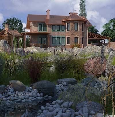 Превью Проекта двухэтажного дома с террасой в английской стилистике