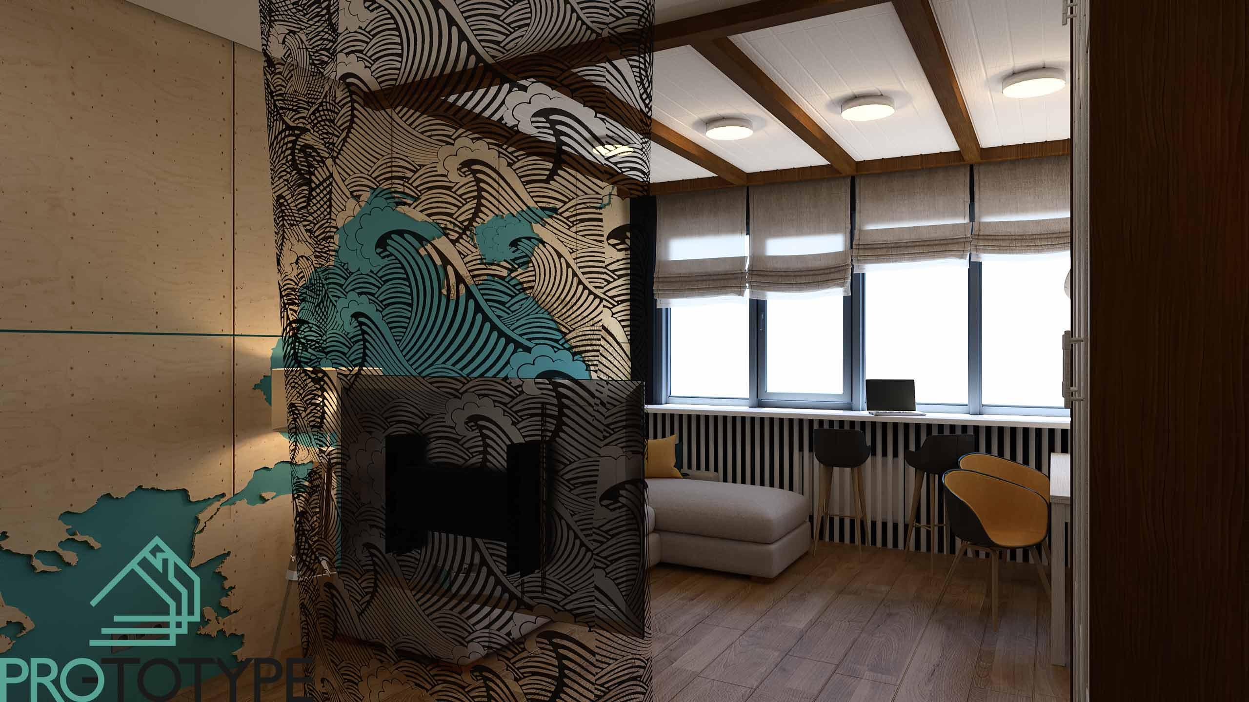 Дизайн проект квартиры в морской тематике