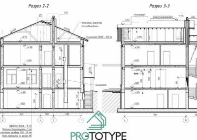 Подробный архитектурный проект с разрезами и размерами