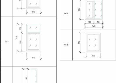 Подробные чертежи проекта включают в себя схему окон с размерами