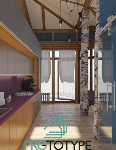 Дизайн интерьера современного дома с проходной кухней