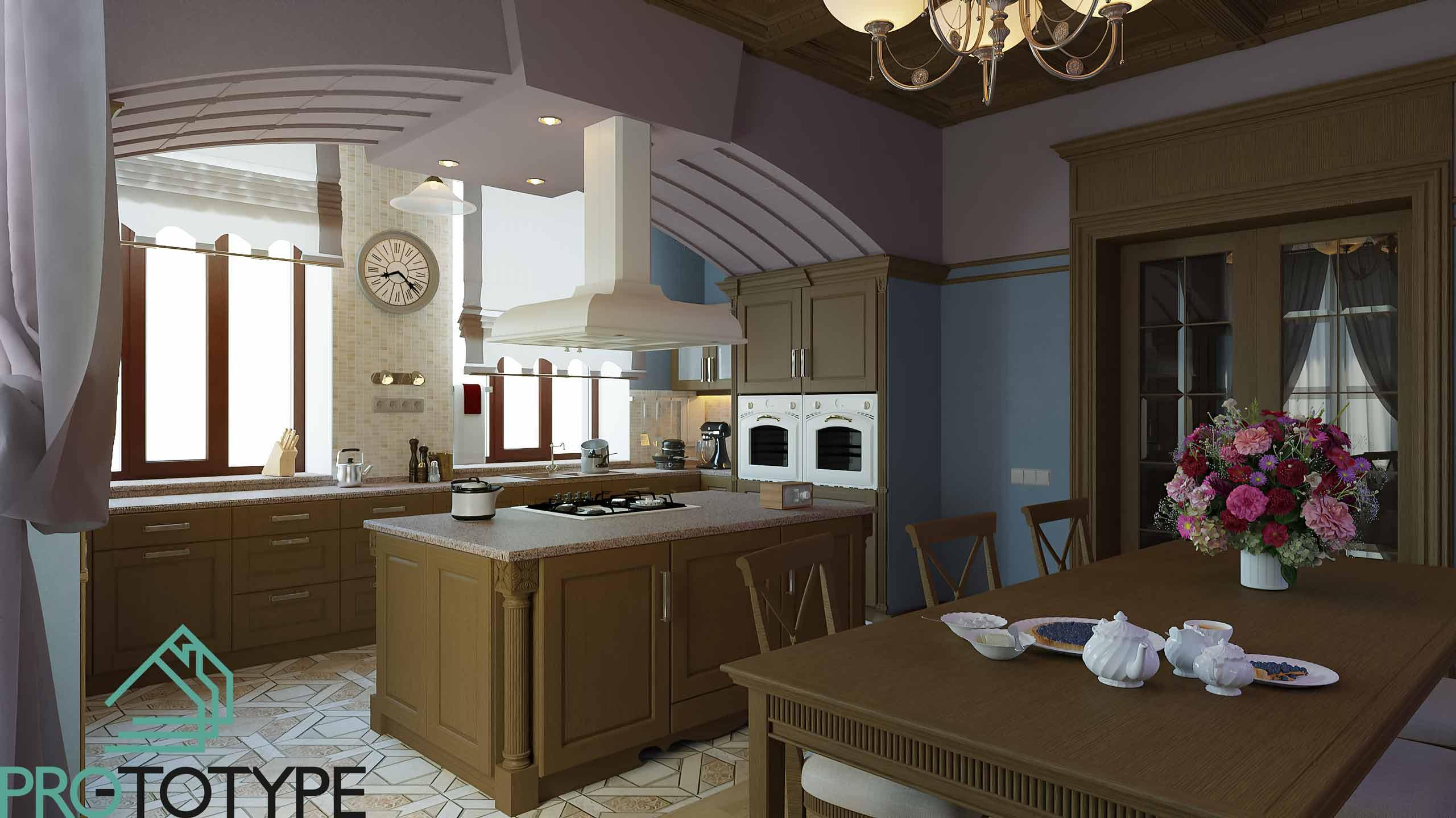 Красивые дома - Дизайн интерьера кухни-столовой в строгой классике