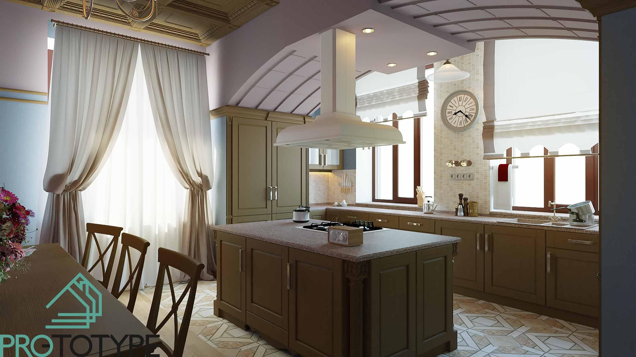 Кухня в классическом стиле не предполагает современной техники