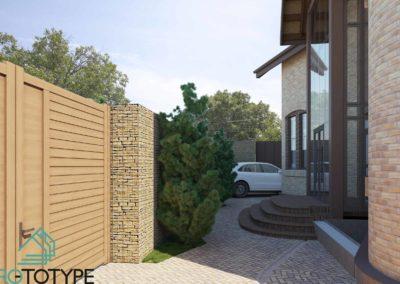 Внутренний двор с парковкой для машин и площадкой перед входом в дом