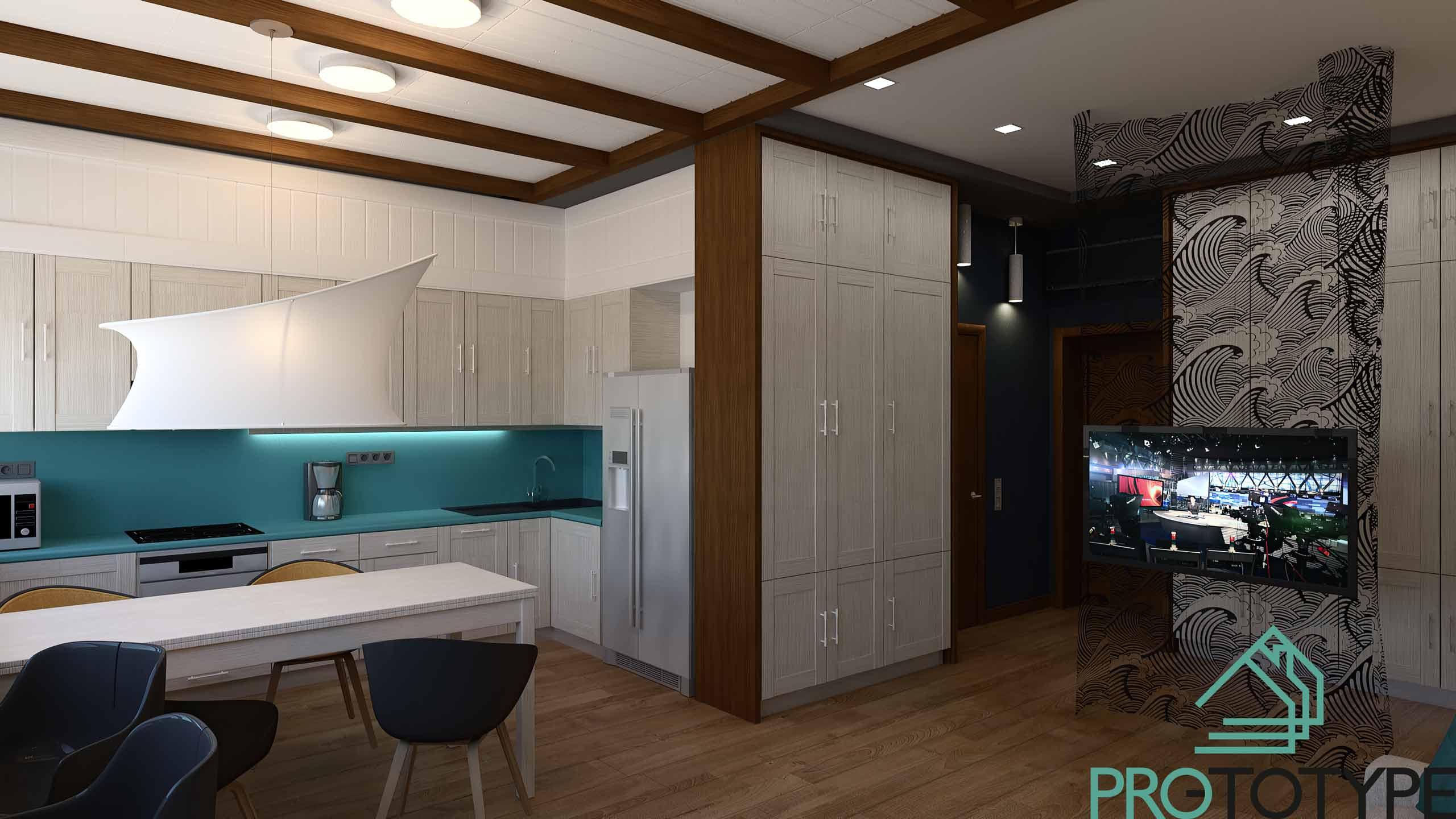 Визуализация современной квартиры с свободной планировкой