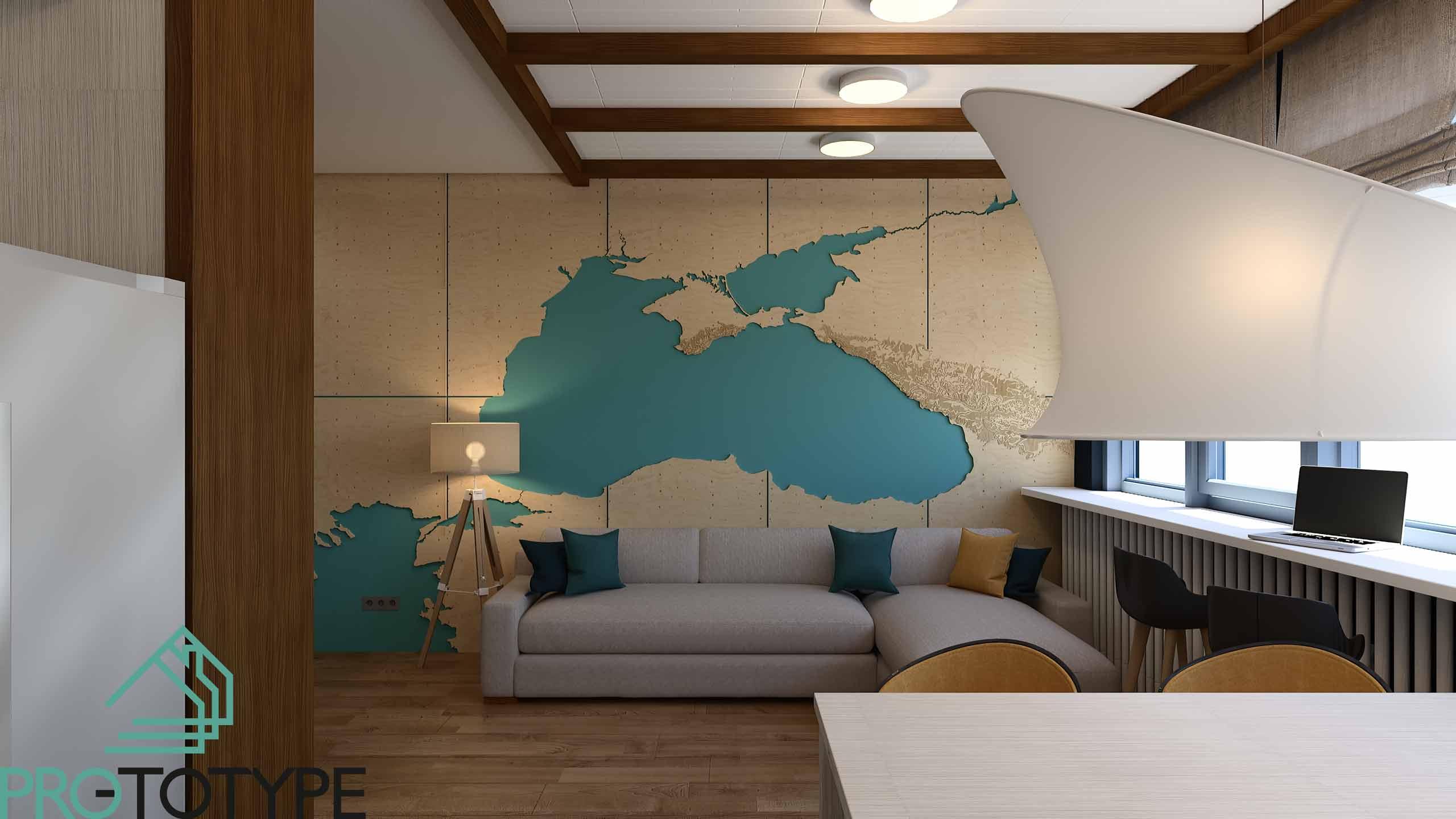 Дизайн гостиной отсылает нас к любви путешествовать