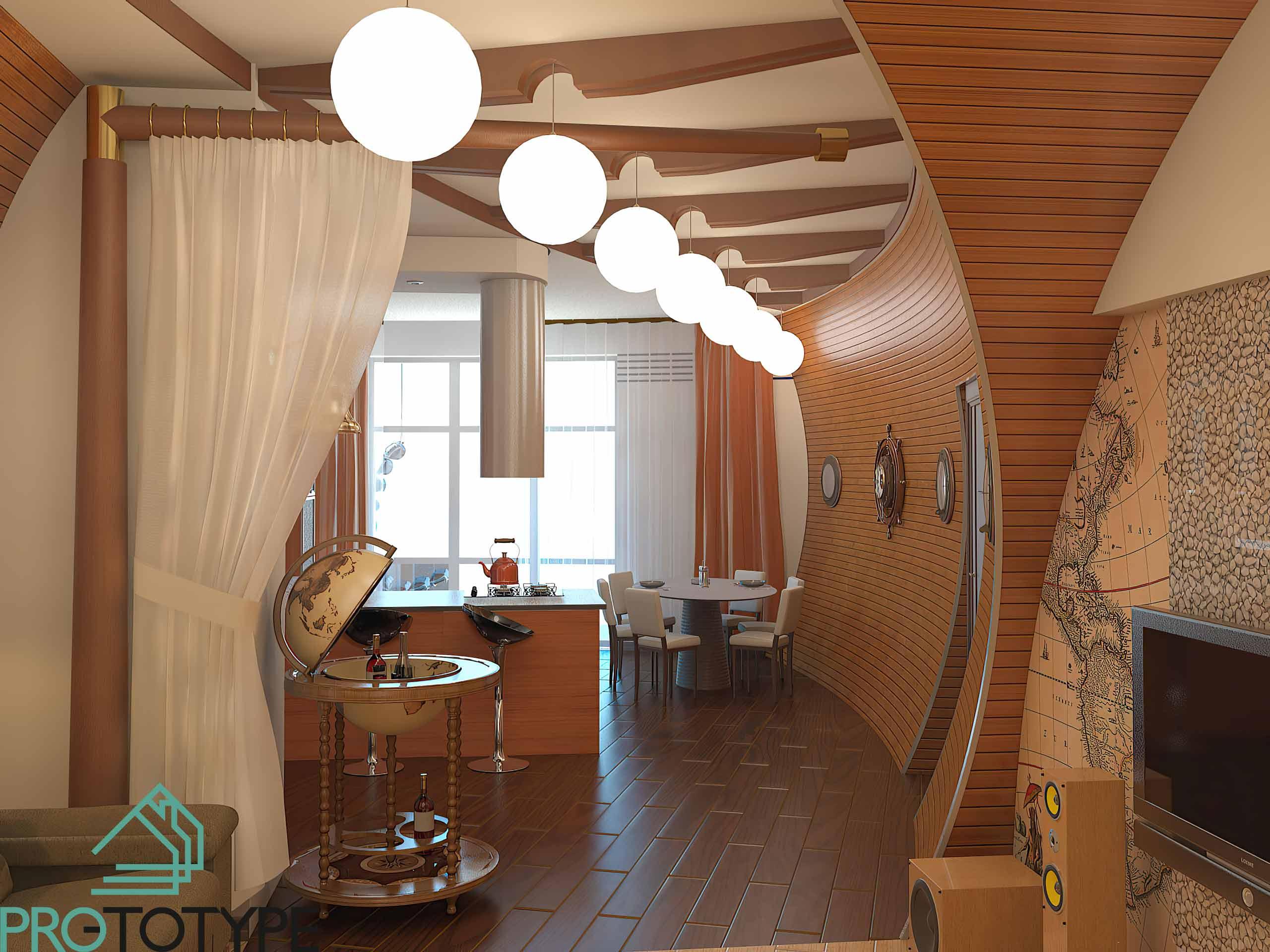 Визуализация помещения кухни-гостиной