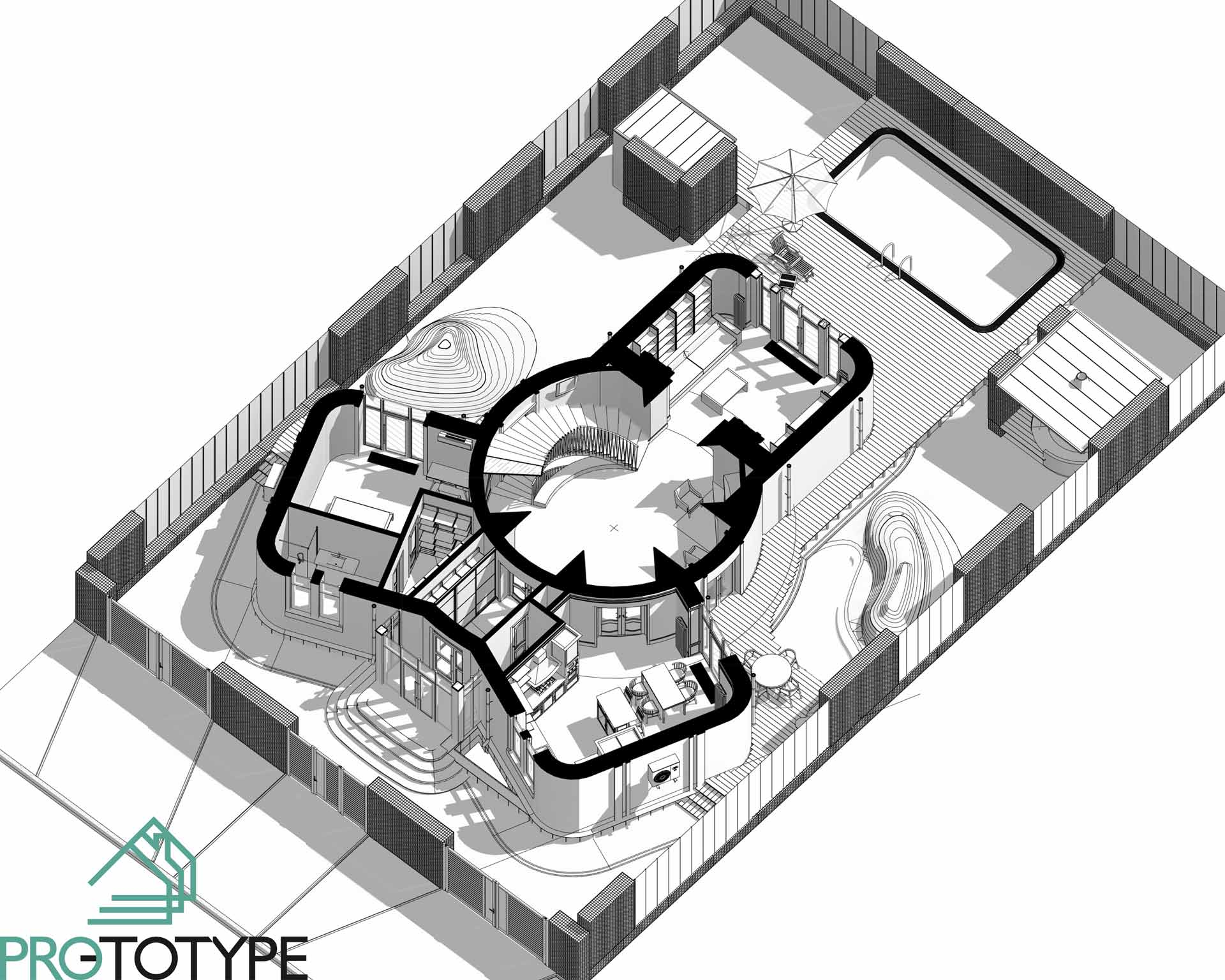 Комплексный архитектурный проект первого этажа с дизайном интерьера и ландшафтом