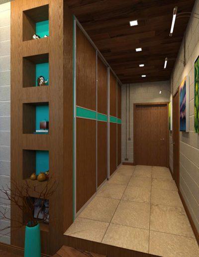 Прихожая с встроенными шкафами в стилистике лофт
