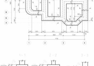 План ленточного фундамента под раскладку ФБС в частном доме