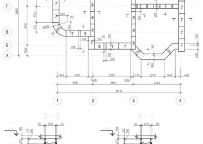 Схема раскладки фундаментных блоков с монолитными стена