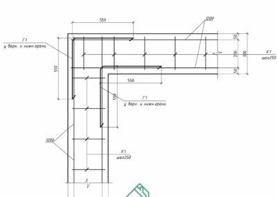 Угловое соединение арматуры монолитном поясе частного дома