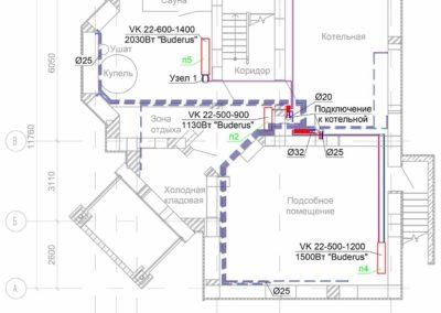 Схема разводки труб отопления по потолку частного дома