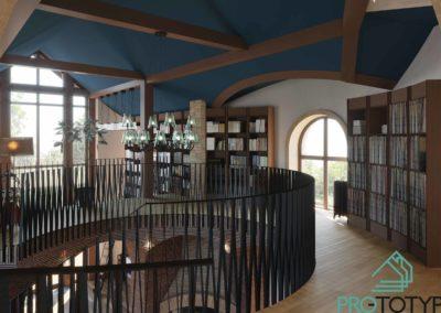 Антресоль в дизайн проекте интерьера библиотеки и фонотеки