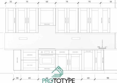 Для заказа кухни в дизайн проекте есть специальные чертежи