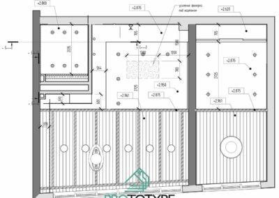 План монтажа потолка из ГКЛ в дизайн проекте интерьера