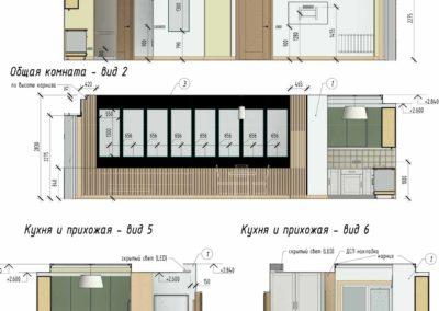 Цветные развёртки стен каждого помещения с указанием размеров
