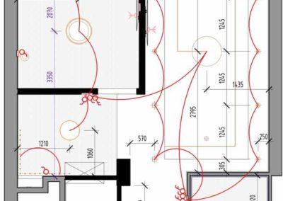 План электрических цепей освещения в дизайн проекте интерьера
