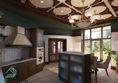 Столовая зона на кухне в классическом исполнении