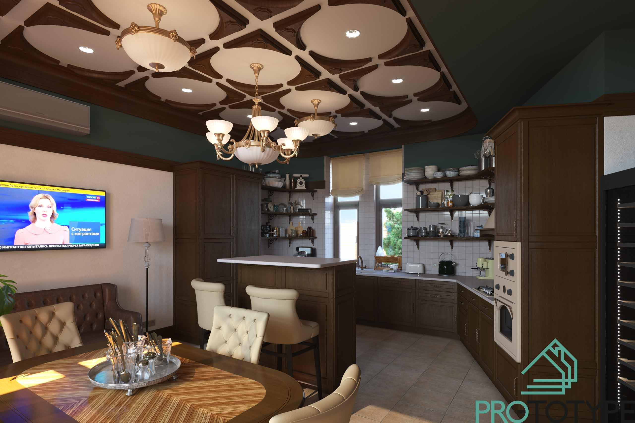 Кухня-столовая в классическом исполнение без верхних шкафов