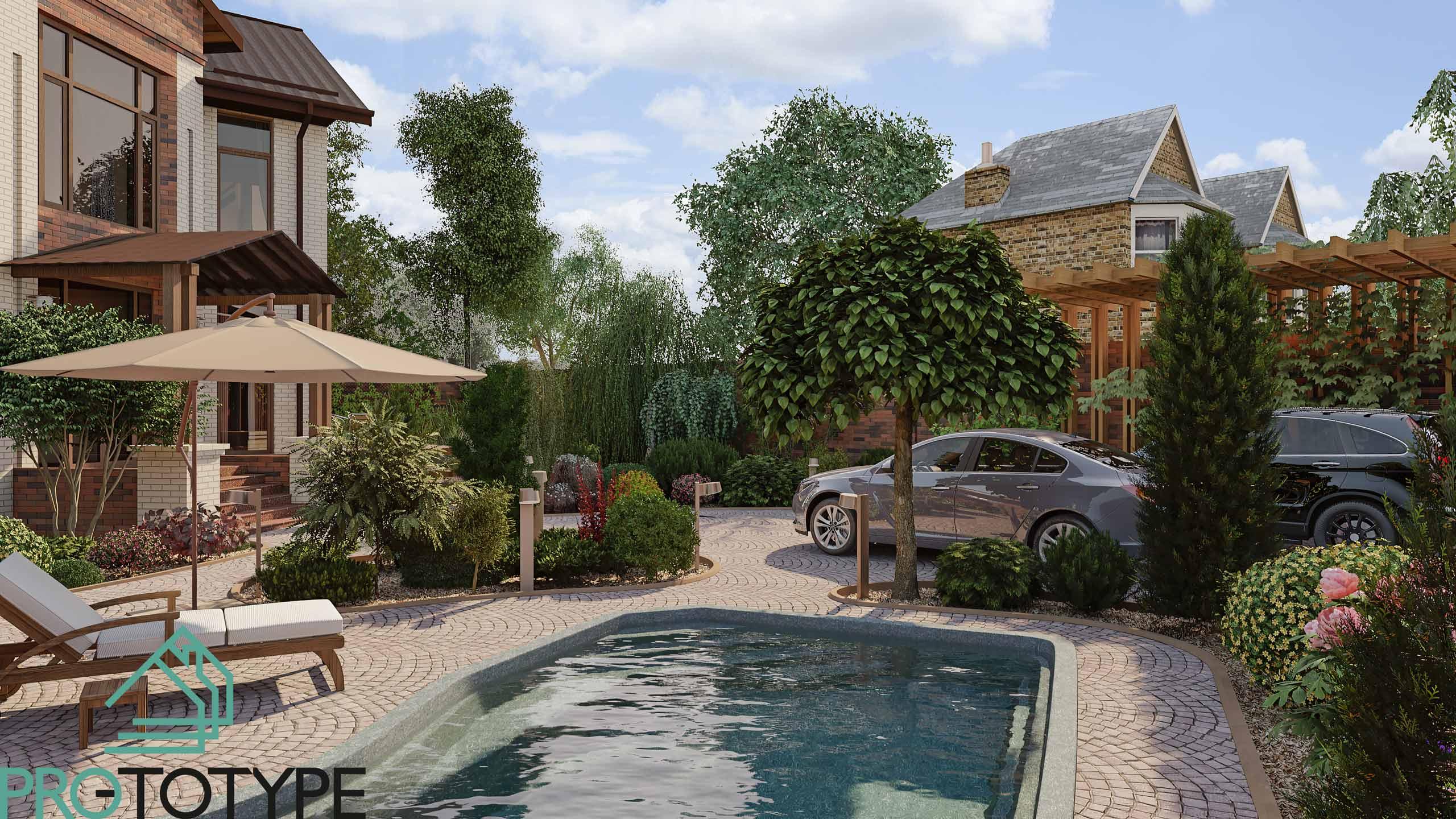 Визуализация двора с бассейном и зоной отдыха