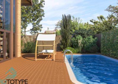 Задний двор с террасой и бассейном