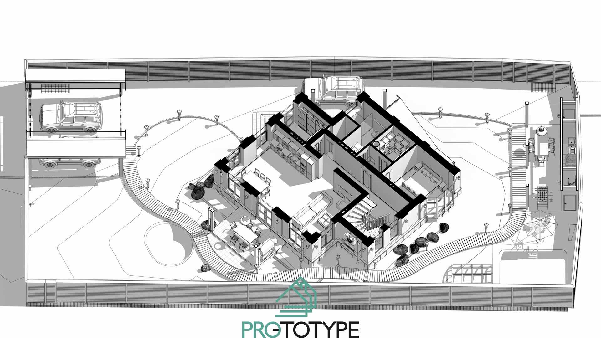 Планировка первого этажа совместно с планом участка