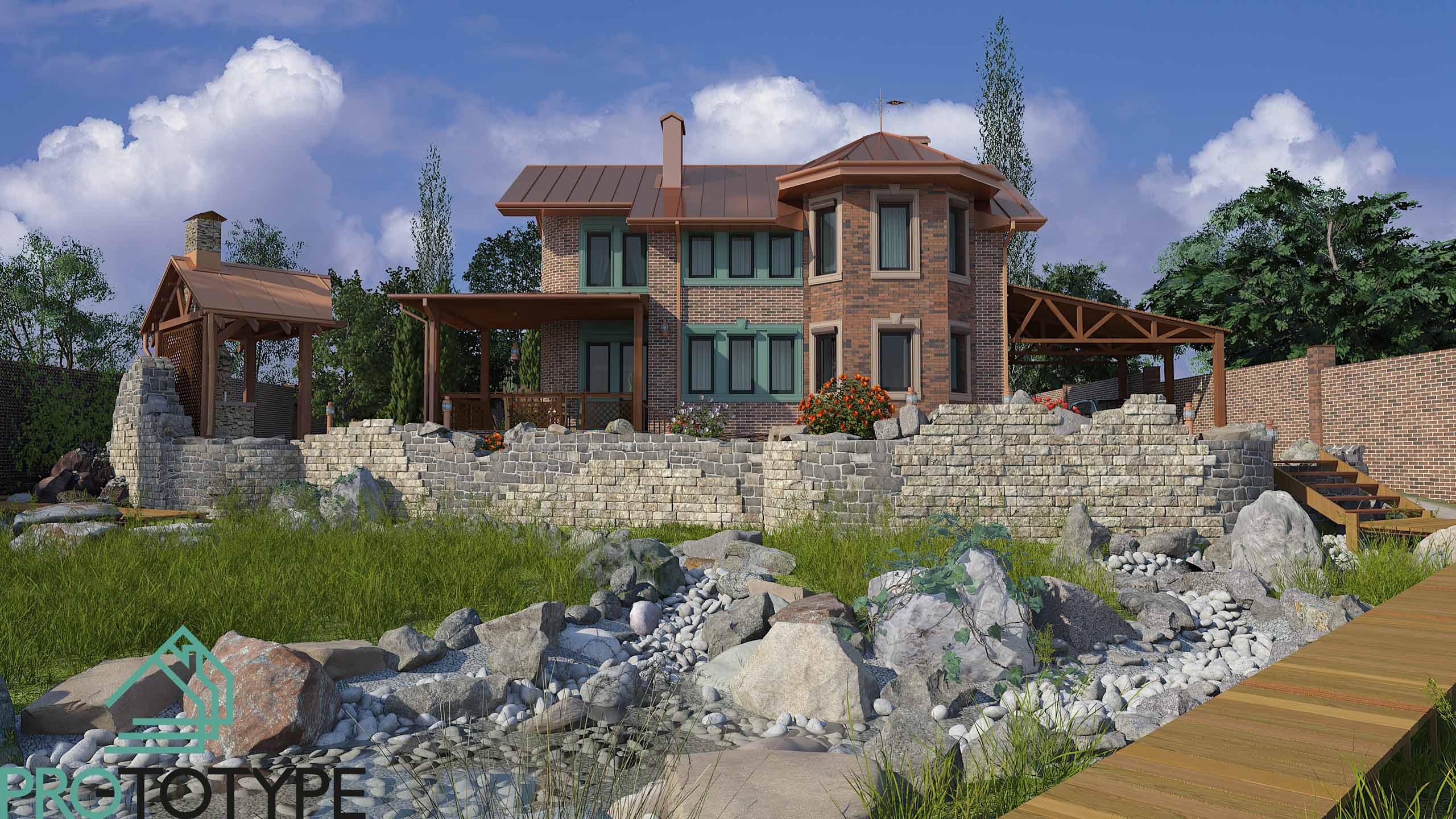 Проект двухэтажного дома с террасой в английской стилистике