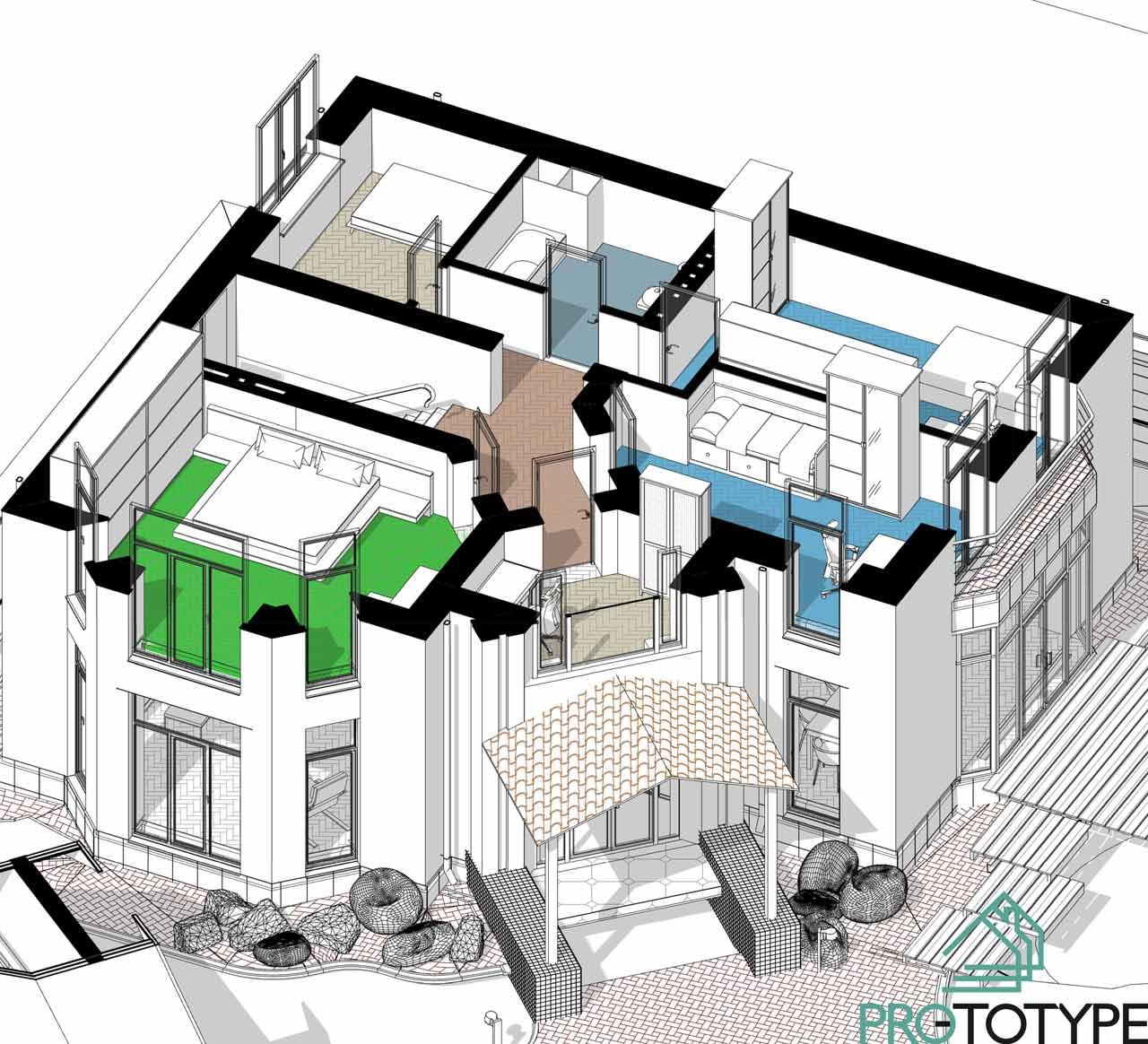 Планировка второго этажа в проекте дома с эркером