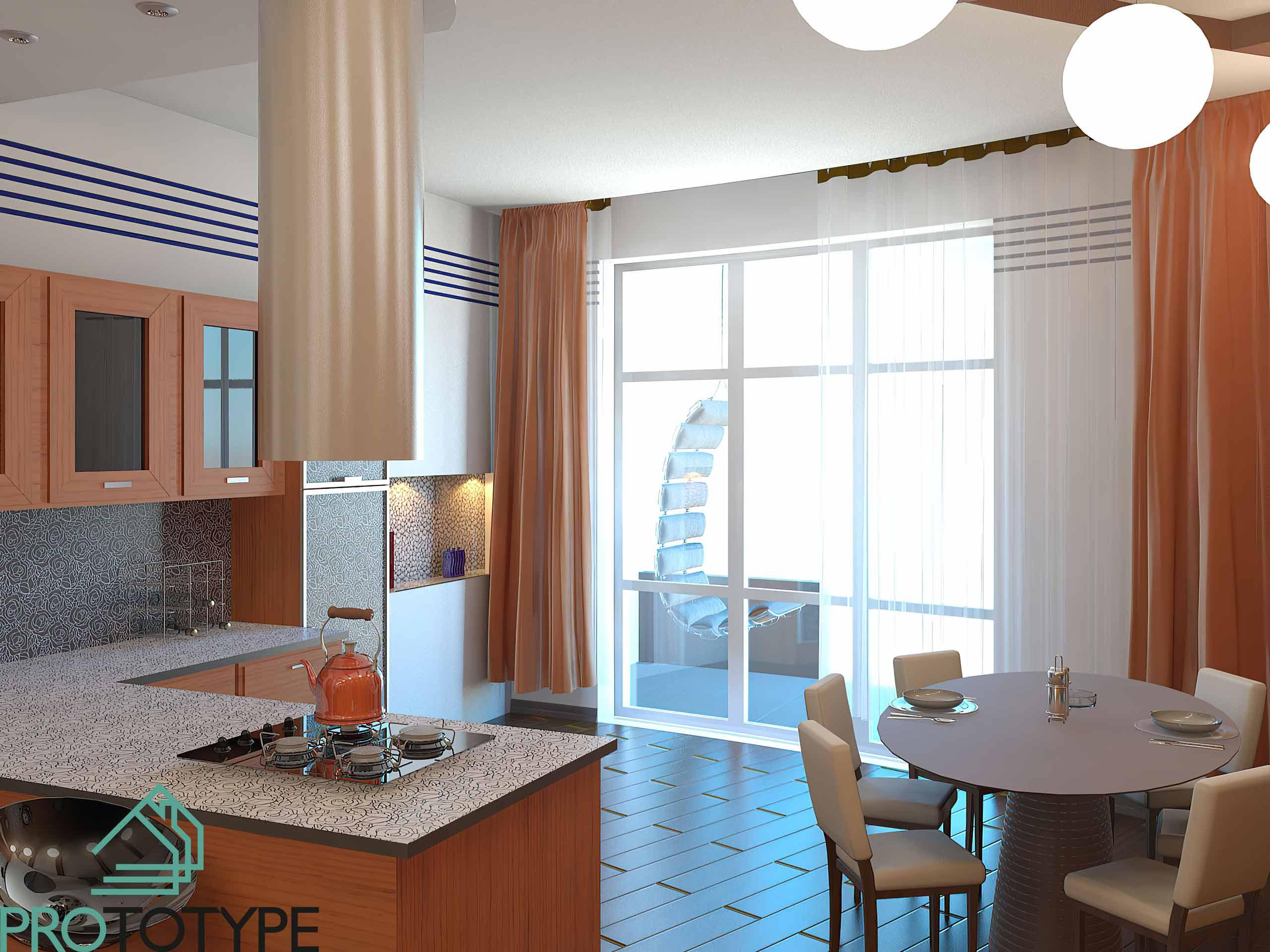 Визуализация кухни и столовой