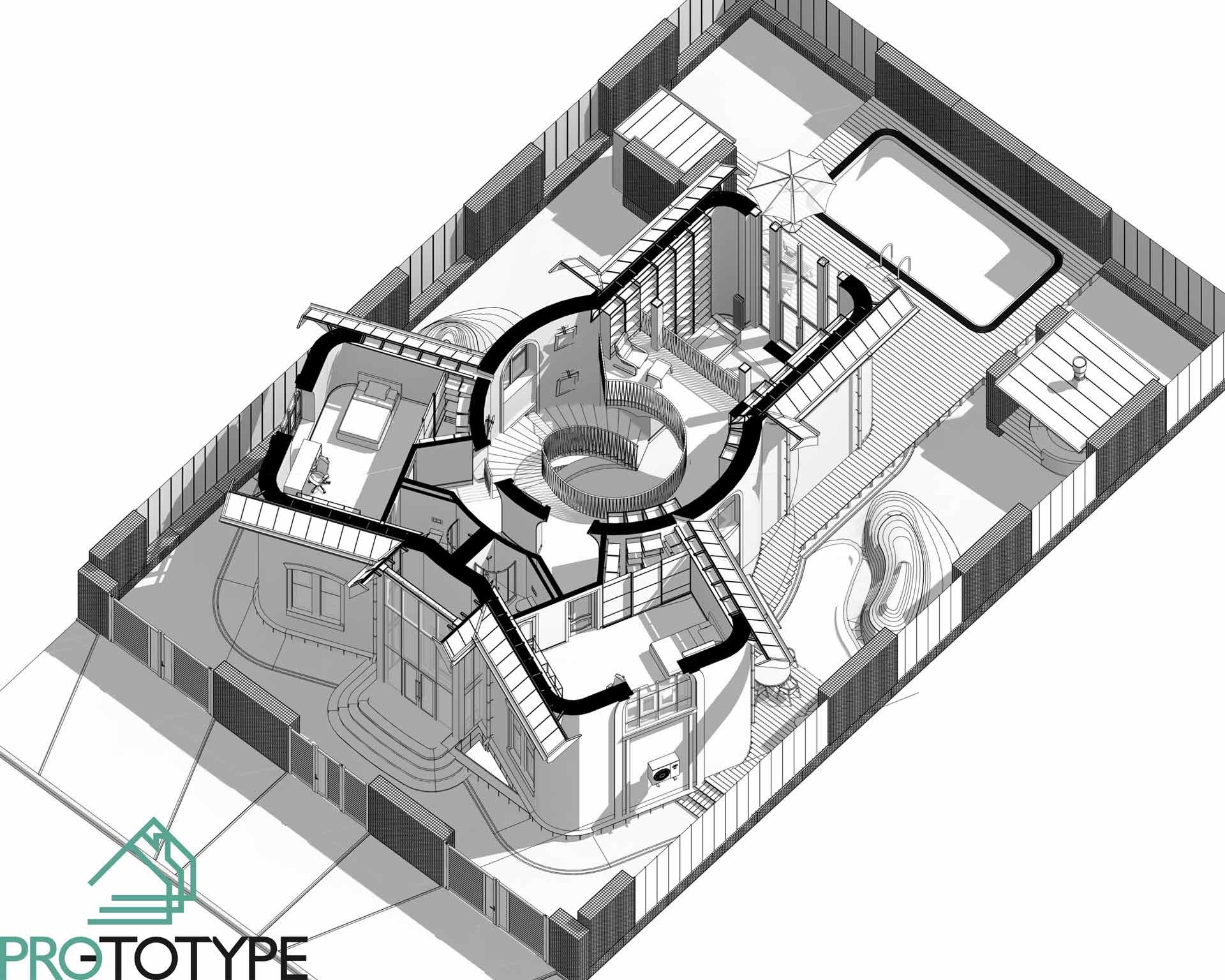 Комплексный архитектурный проект второго этажа с дизайном интерьера и ландшафтом