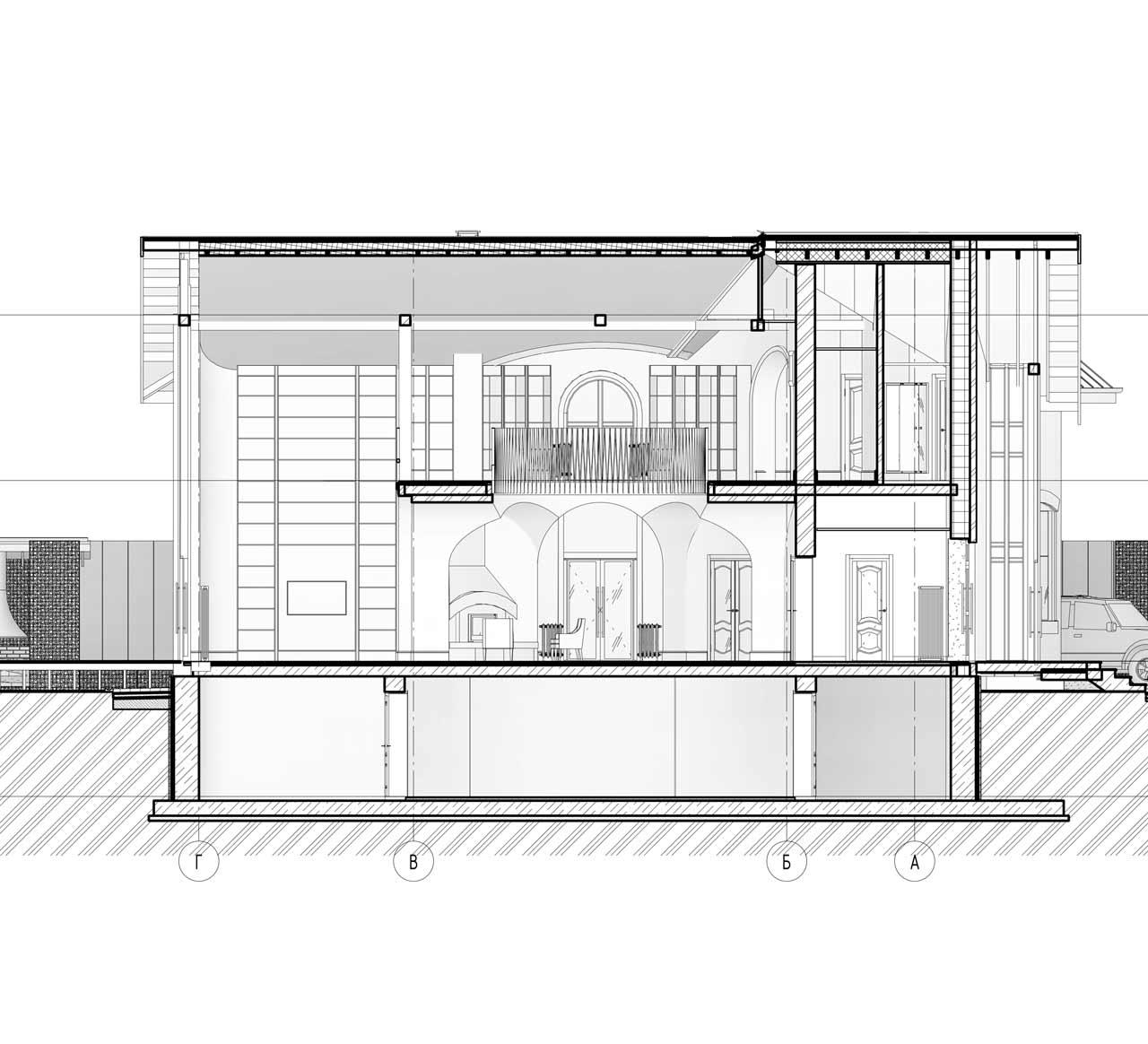 Разрез дома с ландшафтом и дизайн интерьером