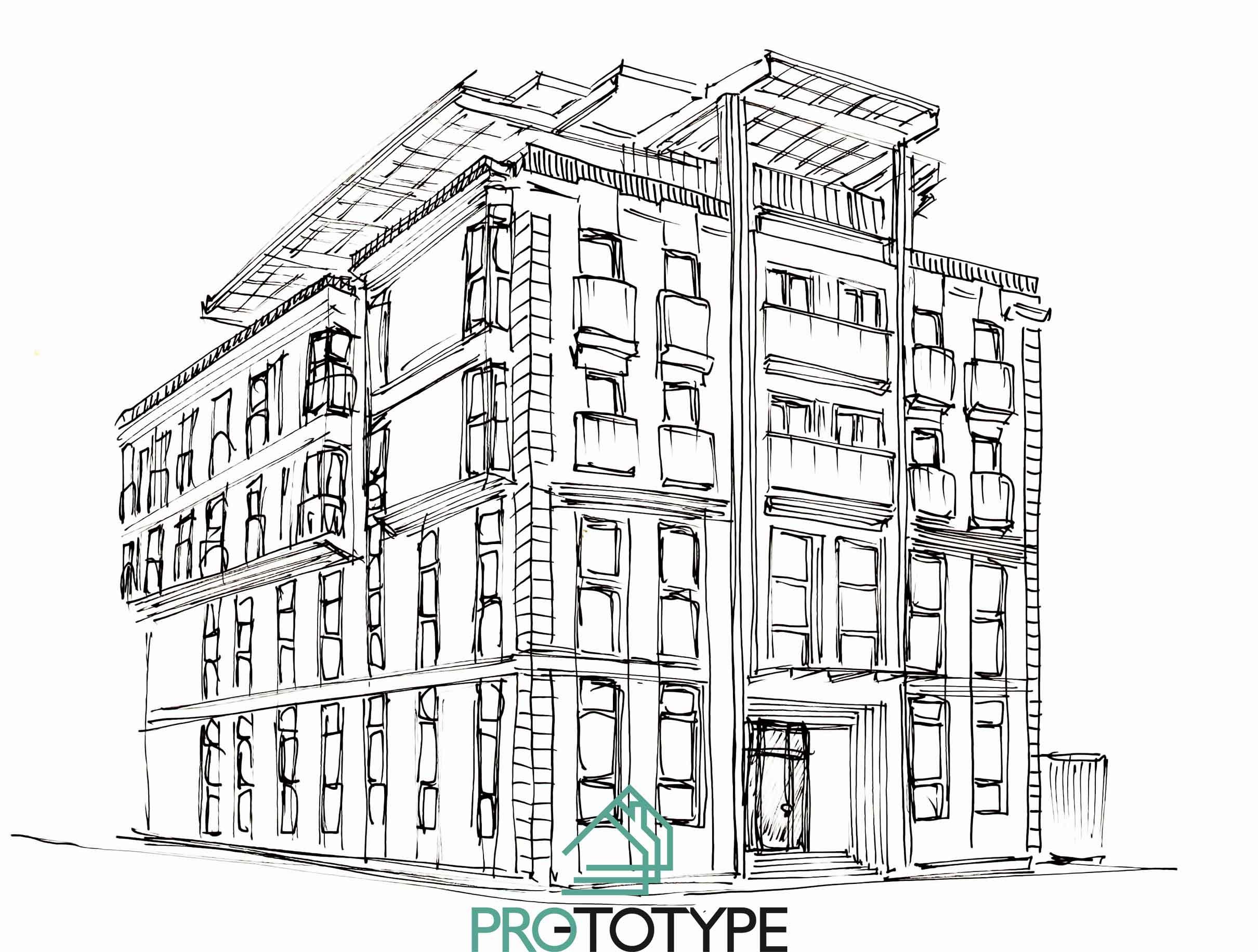 Архитектура фасада в ручной графике