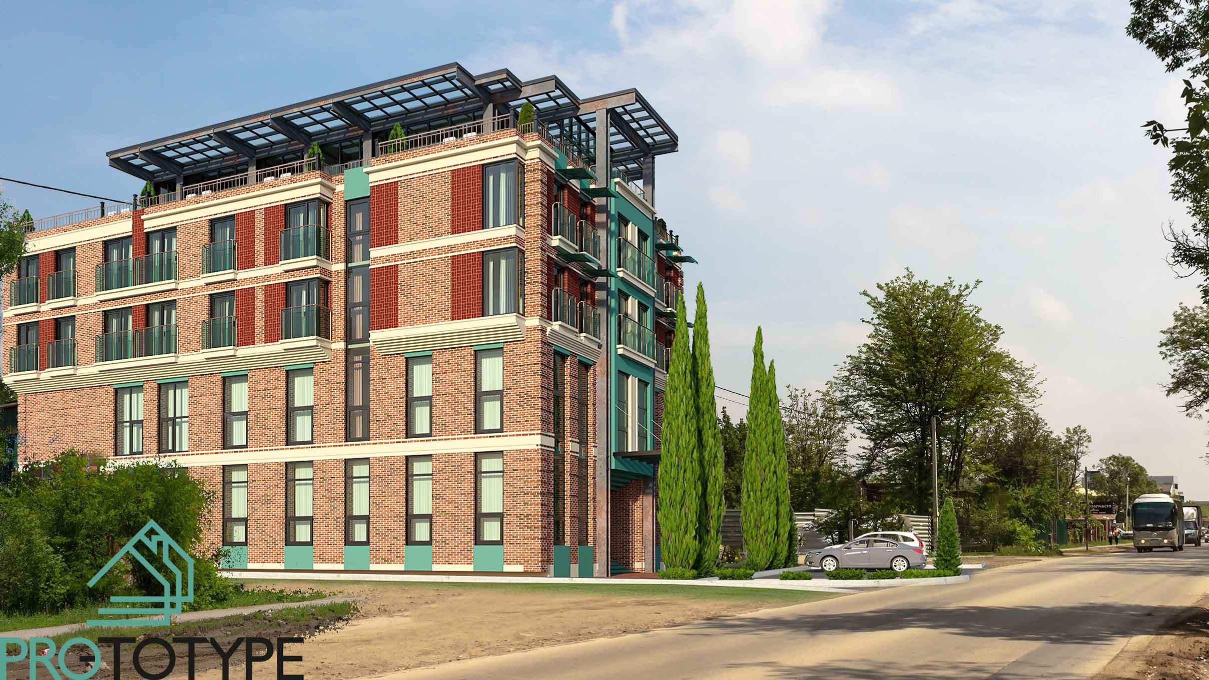 Архитектурный проект гостиницы с рестораном на крыше