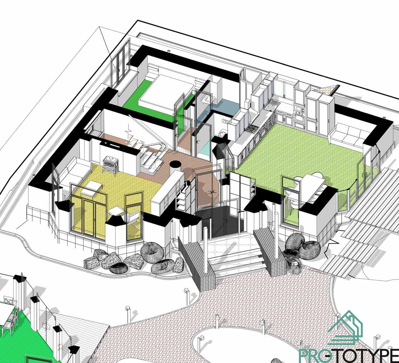 Планировка первого этажа в проекте дома с эркером