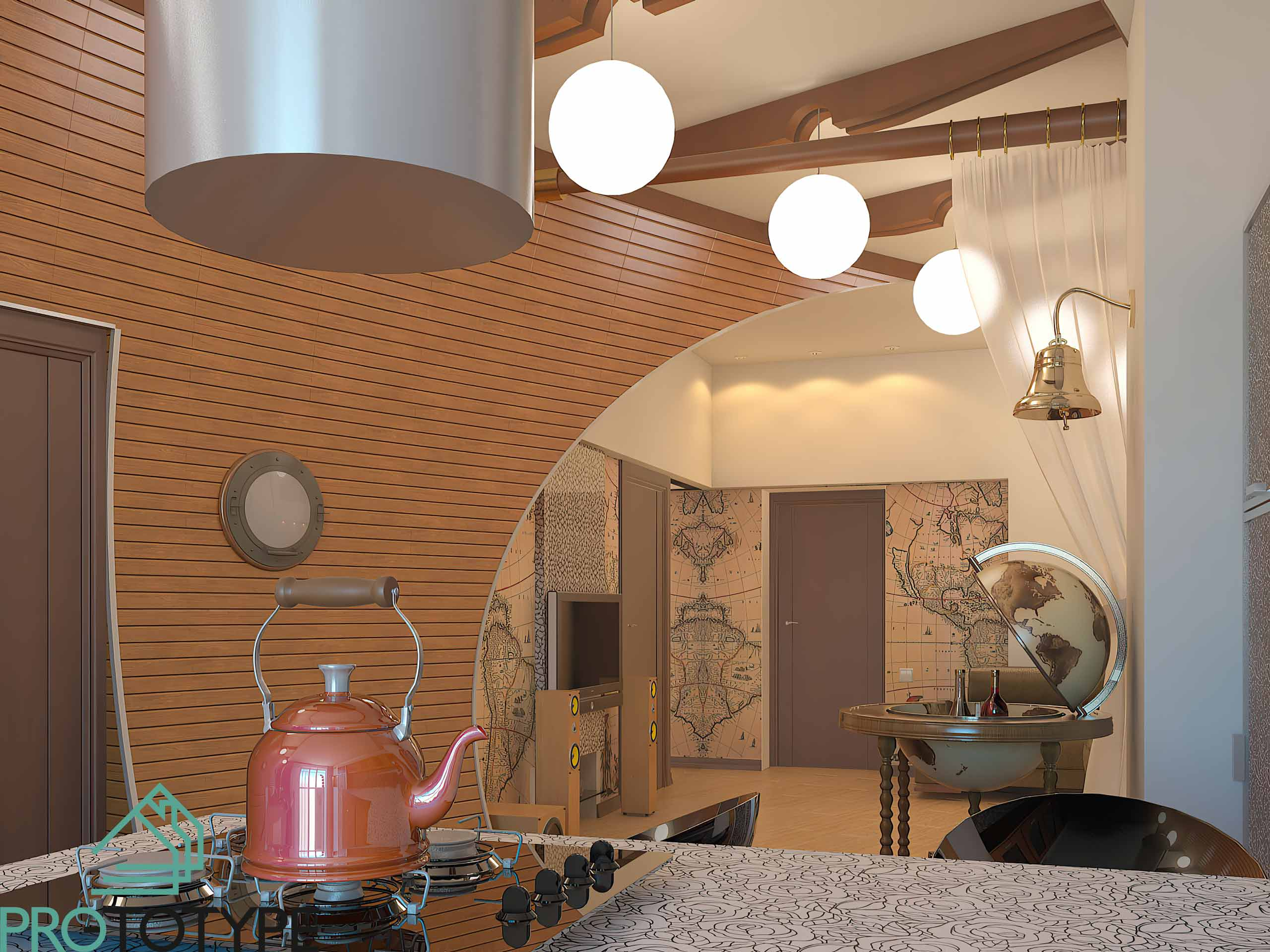 Визуализация проекта с кухни в гостиную