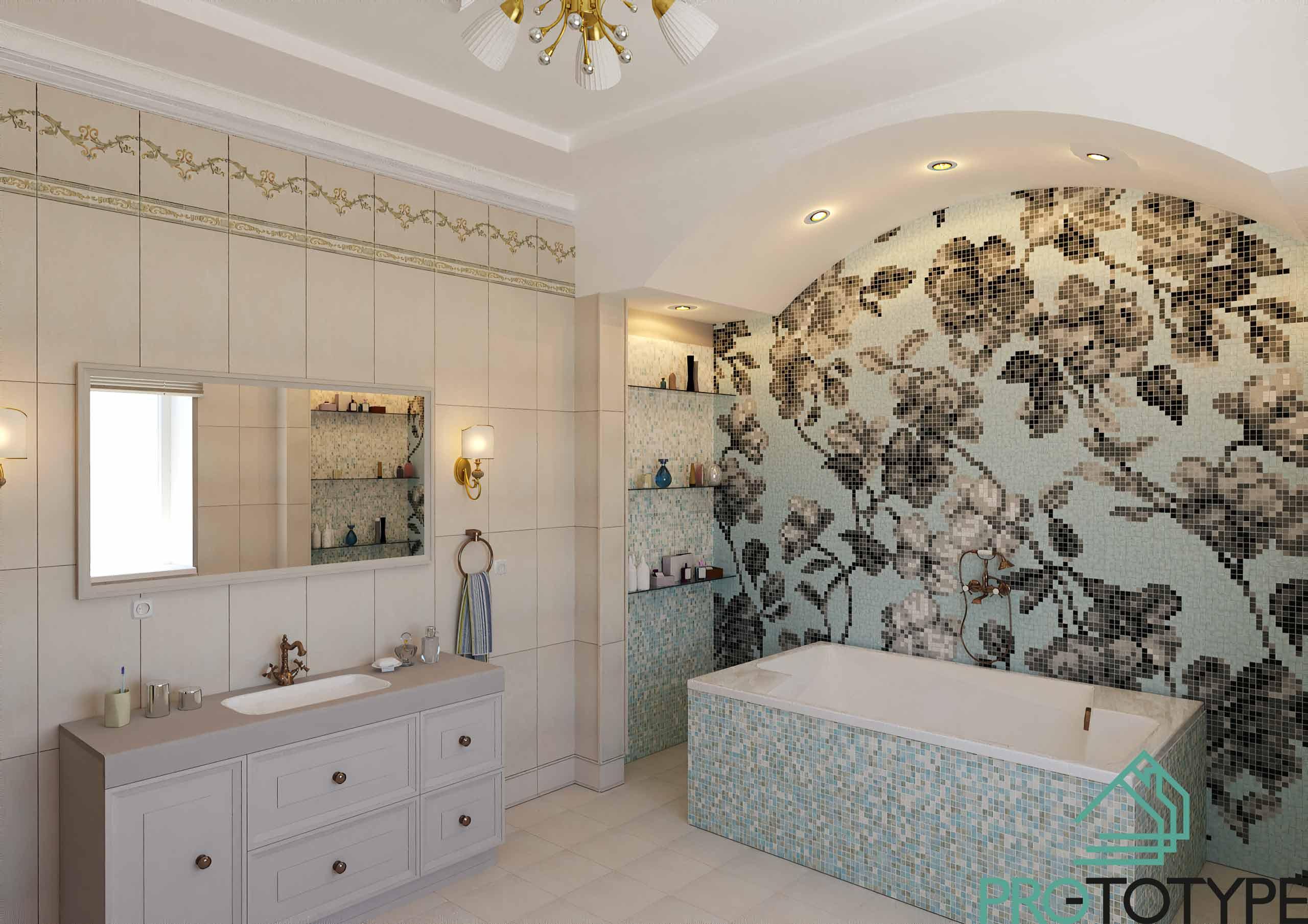 Дизайн ванной комнаты с мозаичным полотном